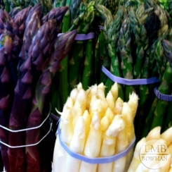 White, purple and green asparagus
