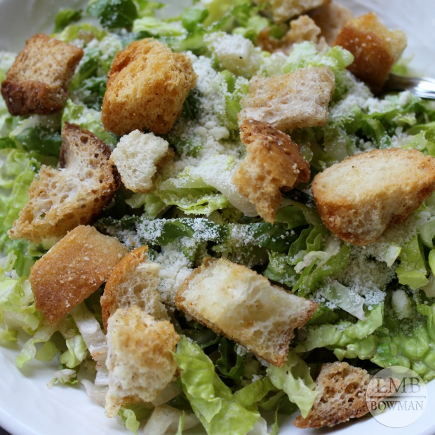 I have been really enjoying Caesar Salads for lunch with fresh homemade croutons and grated Parmesan cheese.