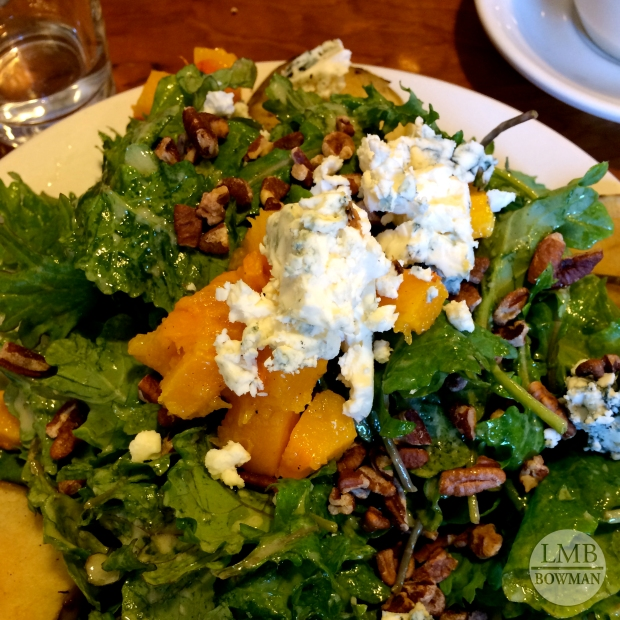 Roasted butternut squash, kale, blue cheese, toasted pecans with a mustard vinaigrette.