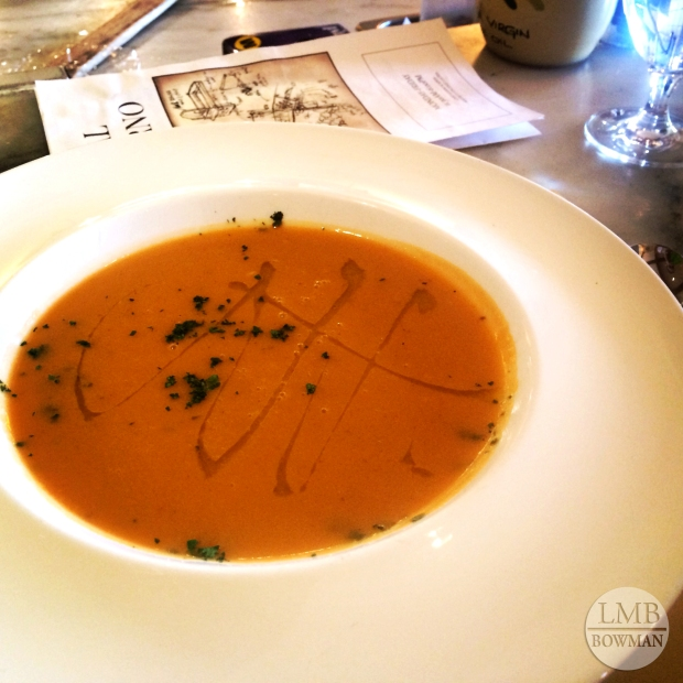 Fantastic lunch at one of the CIA's on campus resturants Caterina de Medici...seasonal white bean soup.