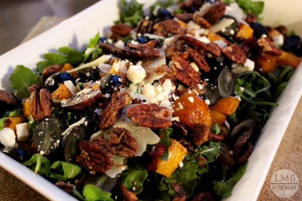 Another fall salad: arugula, roasted butternut squash, grapes, Parmesan, feta, dried cranberries and balsamic.