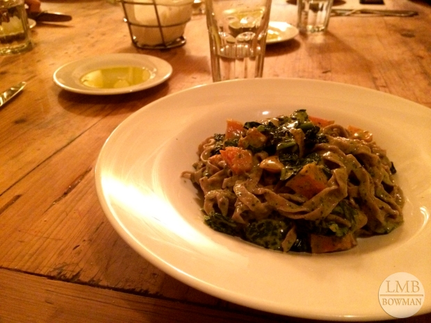 Pasta Integrale: whole wheat fettuccine with roasted butternut squash, broccoli rabe, pesto, and garlic.