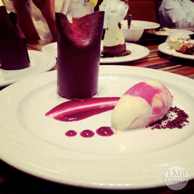 Another friend of mine got this raspberry cheesecake wrapped in chocolate with a raspberry vanilla sorbet on the side.