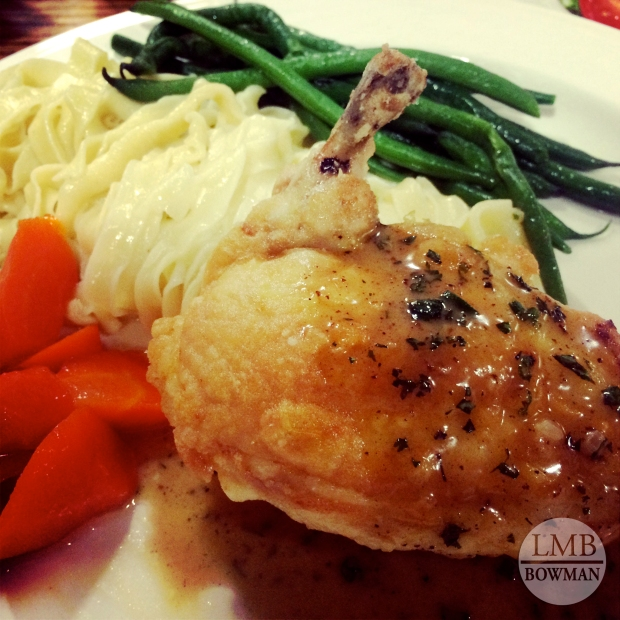 Chicken fines herbs, fettuccine, green beens and carrots