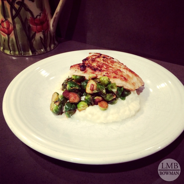 Wednesday night I made my parents miso glazed haddock, roasted Brussels sprouts and mashed cauliflower for dinner.