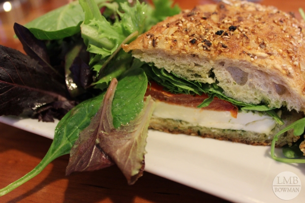 This was the best thing I've had at Bread Alone.  A simple pesto, arugula, oven-dried tomato and mozzarella on toasted multi-grain bread. It was perfect!