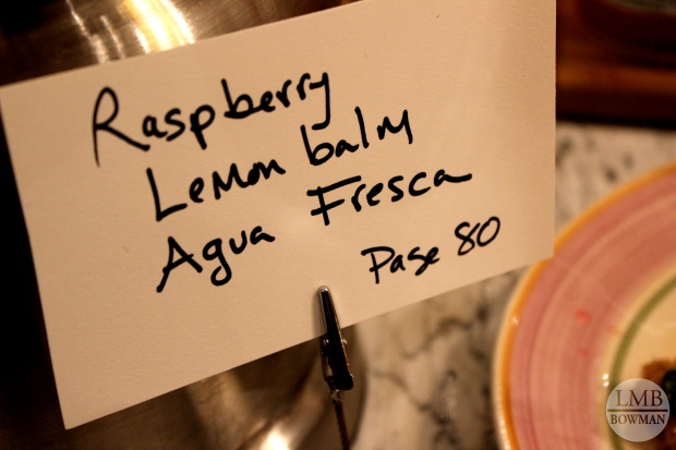The drink I tried was a Raspberry Lemon Balm Agua Fresca...naturally sweet and herbal.