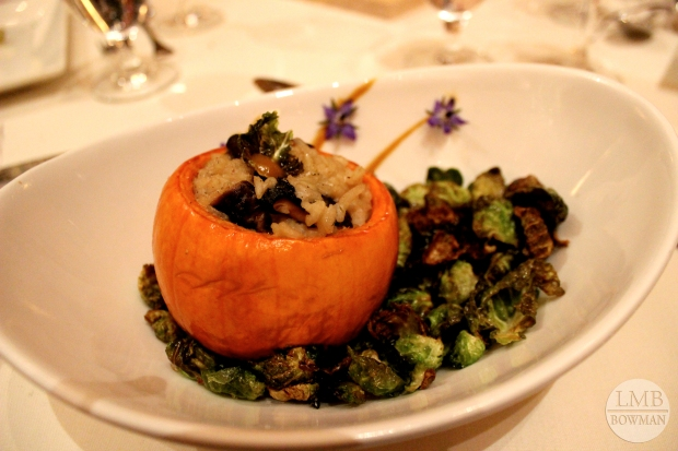 For the second course a has a mushroom risotto stuffed sugar pumpkin on a bead of balsamic roasted Brussels sprouts.  It was delicious!