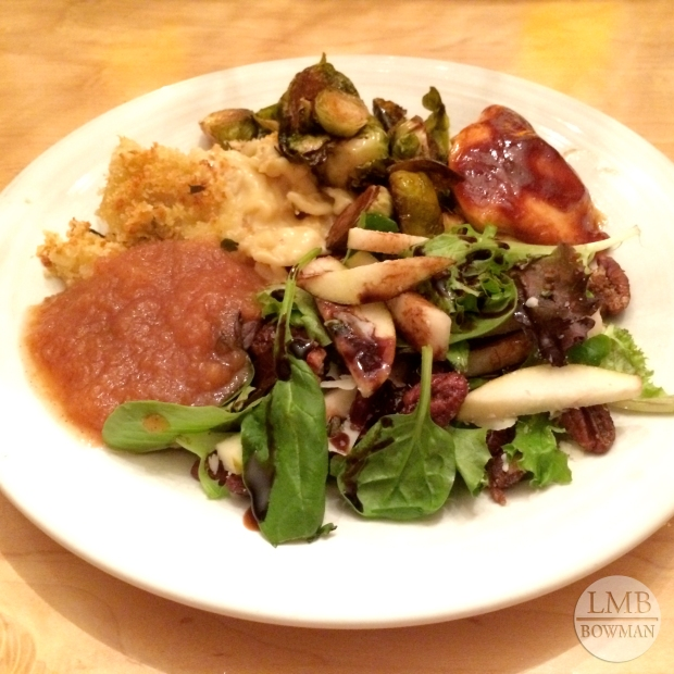 Baked Grogonzola macaroni and cheese, homemade apple sauce, pear salad, barbecue chicken and roasted Brussels sprouts.
