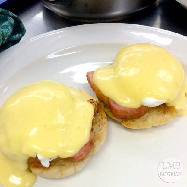 For egg day we had to make an eggs benedict, scrambled eggs, two custards (savory and sweet), hard-boiled eggs, and three fried eggs (over easy, over medium and over hard).