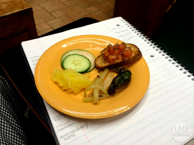 Sample plate: comparing pickling cucumbers to English hot-house cucumbers; bruschetta; roasted shishito pepper; chayote (a member of the summer squash family); and spaghetti squash
