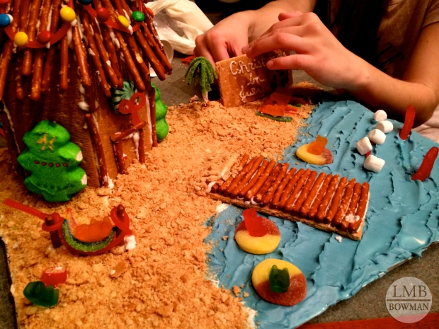 Sunday night a group of friends and I decided to do the gingerbread competition at one of the campus residence lodges. We decided our  theme would be Christmas in July, so we made a tiki hut on a beach.