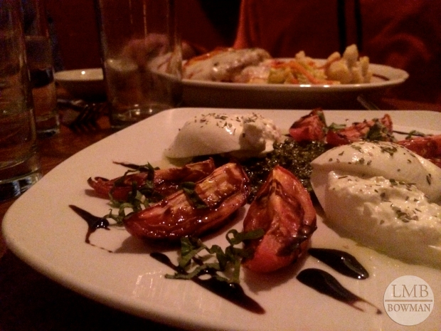 For dinner I had a winter caprese salad with oven dried tomato and burrata along with butternut raviolis, gorgonzola bread with roasted red peppers and calamari