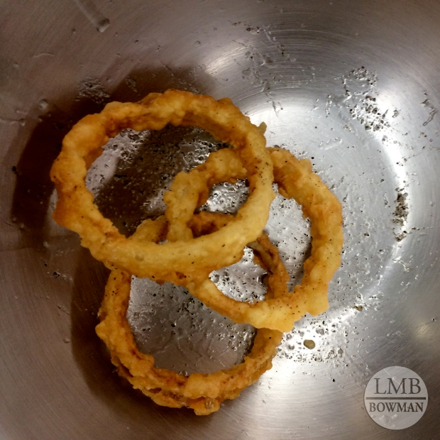 I was so sad that we only made three onion rings each...