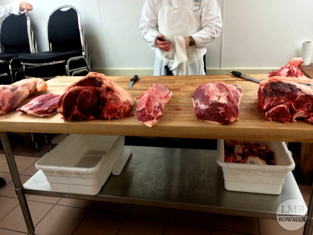 On the first day our chef broke down a beef round (the leg) primal for our demo.  We then proceeded to fabricate the smaller sub-primals into cubes for stew and roasts.
