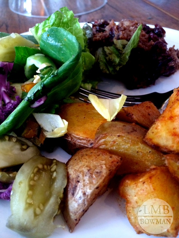 I got to take part in their family meal: ice tea, steak, brussels sprouts (not pictured), roasted seasoned potatoes, salad with pickled vegetables and bread pudding for dessert.