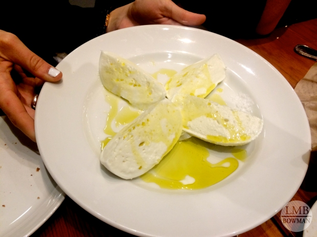 Fresh mozzarella with sea salt and olive oil.