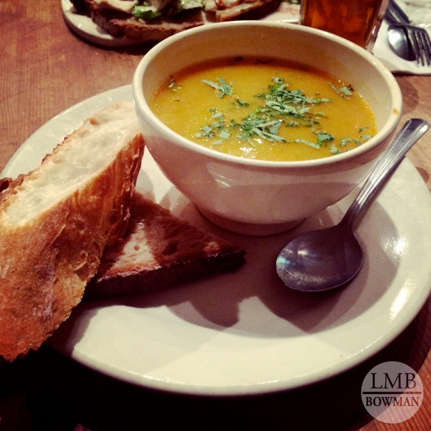 Butternut squash soup and fresh bread at Le Pain Quotidien before heading back to school.