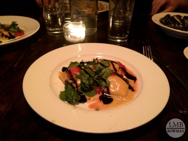I really enjoyed my main entree: squash ravioli with browned butter, blood oranges, watercress and a pungent balsamic reduction.  It was the perfect sized portion after indulging in lots of appetizers. It left just enough room for my favorite dessert...